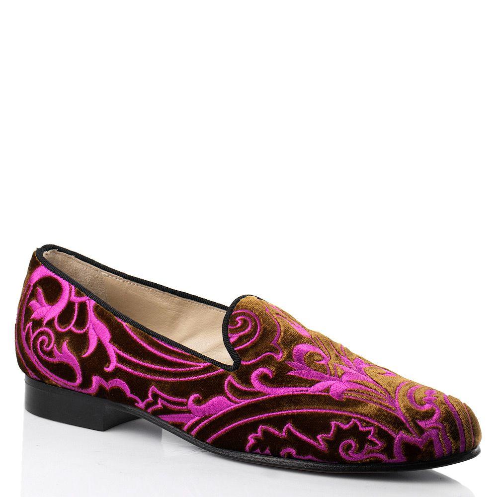 Бархатные слиперы с вышивкой Etro коньячно-розовые