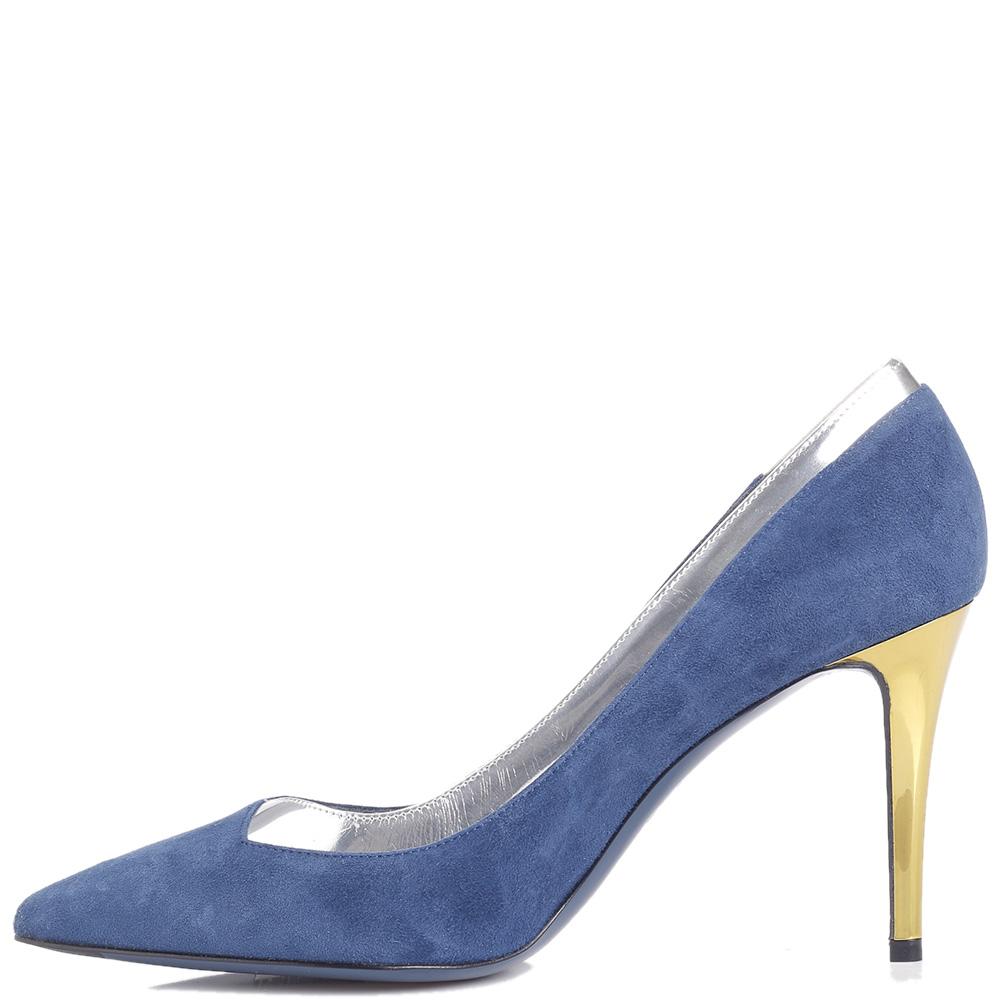 Синие туфли-лодочки Fendi с лаковой вставкой