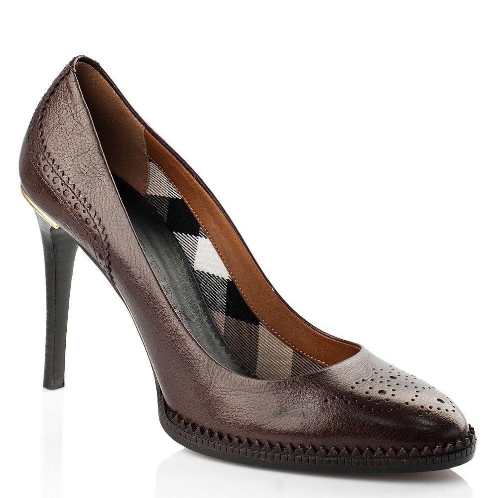 Коричневые туфли Burberry с перфорацией