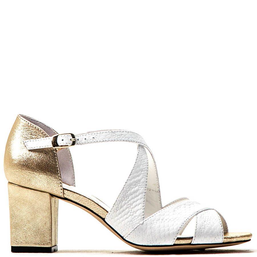 Босоножки Modus Vivendi белые с золотистым каблуком