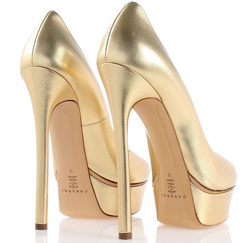 Туфли Casadei золотистые с открытым носочком