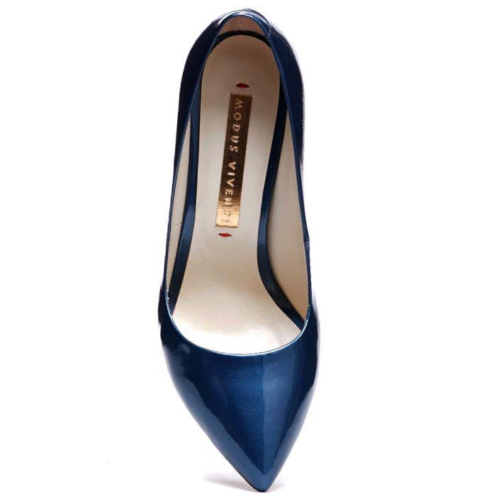 Лодочки синего цвета Modus Vivendi из лаковой кожи