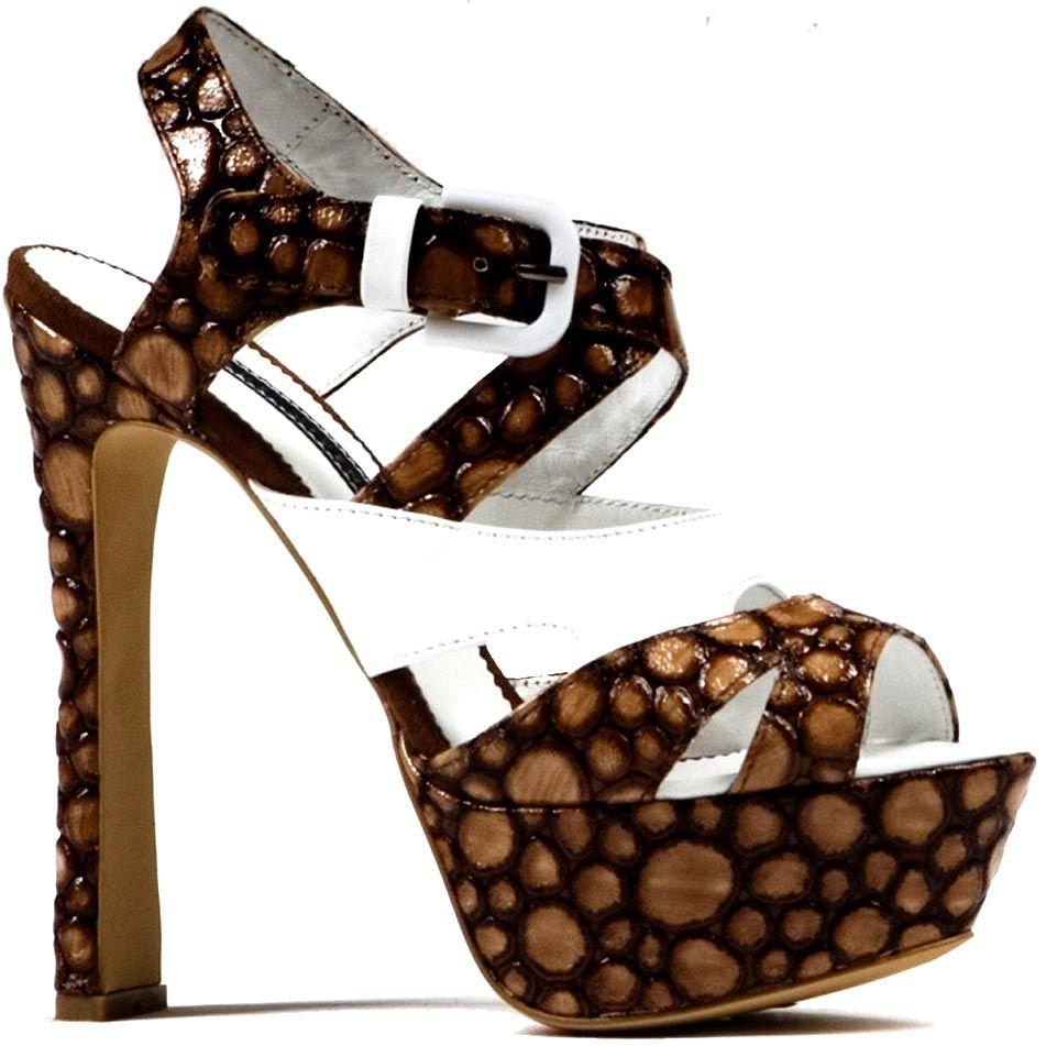Босоножки Modus Vivendi на каблуке и скрытой платформе коричневого цвета