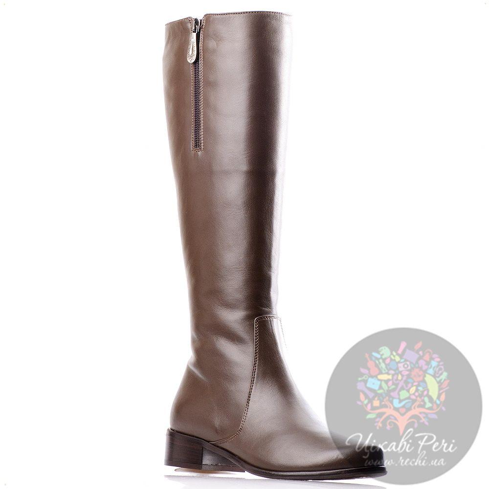 Кожаные сапожки Gilda Tonelli на низком ходу коричневые с декоративной молнией