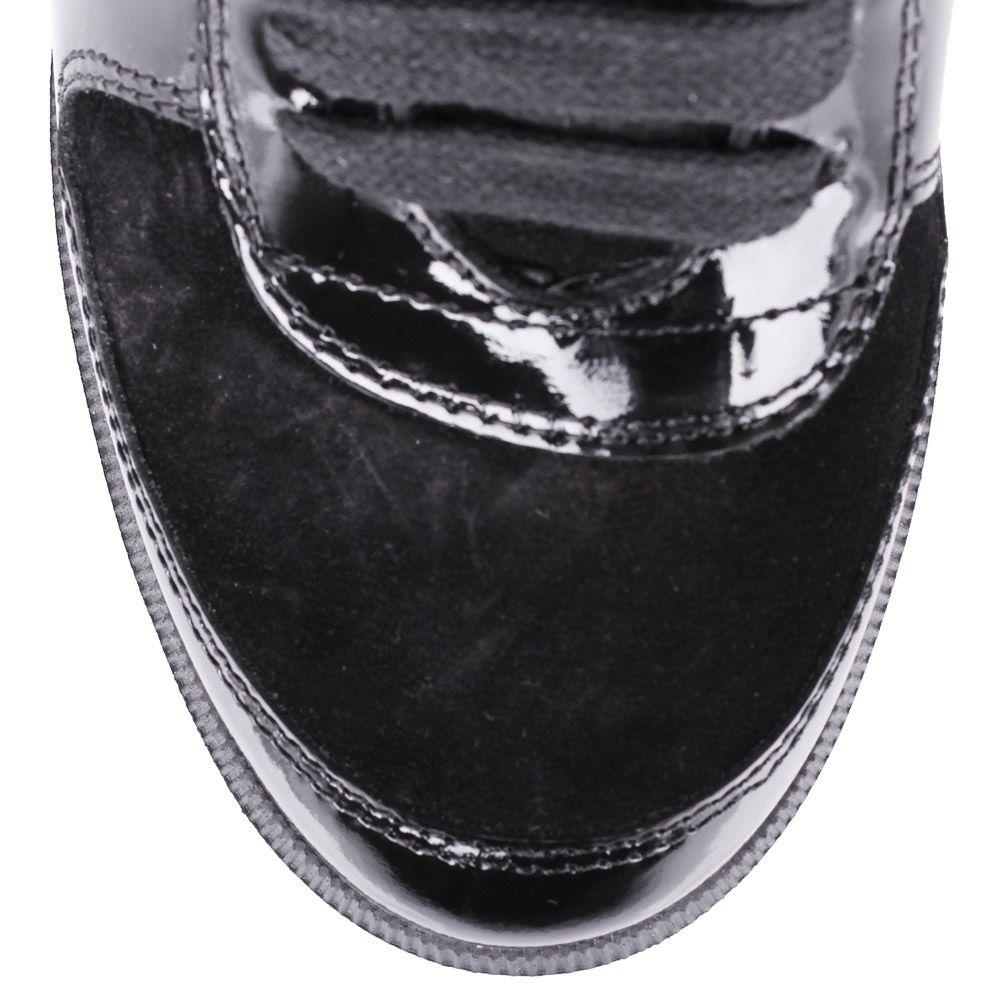 Сникеры Richmond черного цвета замшевые на скрытой танкетке с лаковыми вставками и стразами