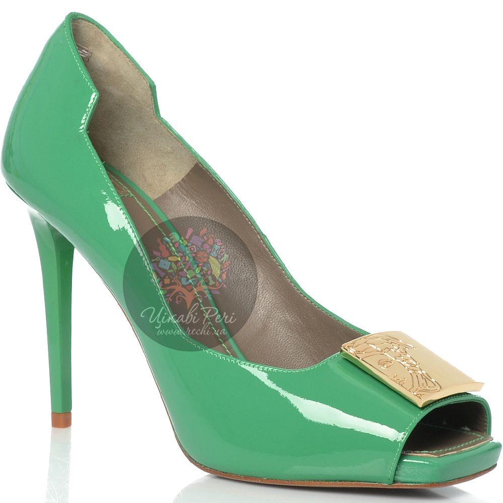 Туфли Versace Collection на шпильке кожаные лаковые зеленые