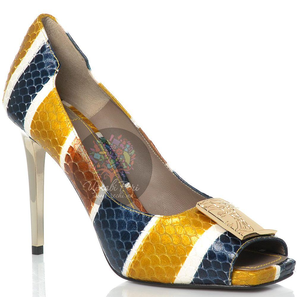 Туфли Versace Collection на шпильке кожаные с чешуйчатой фактурой с цветными полосами