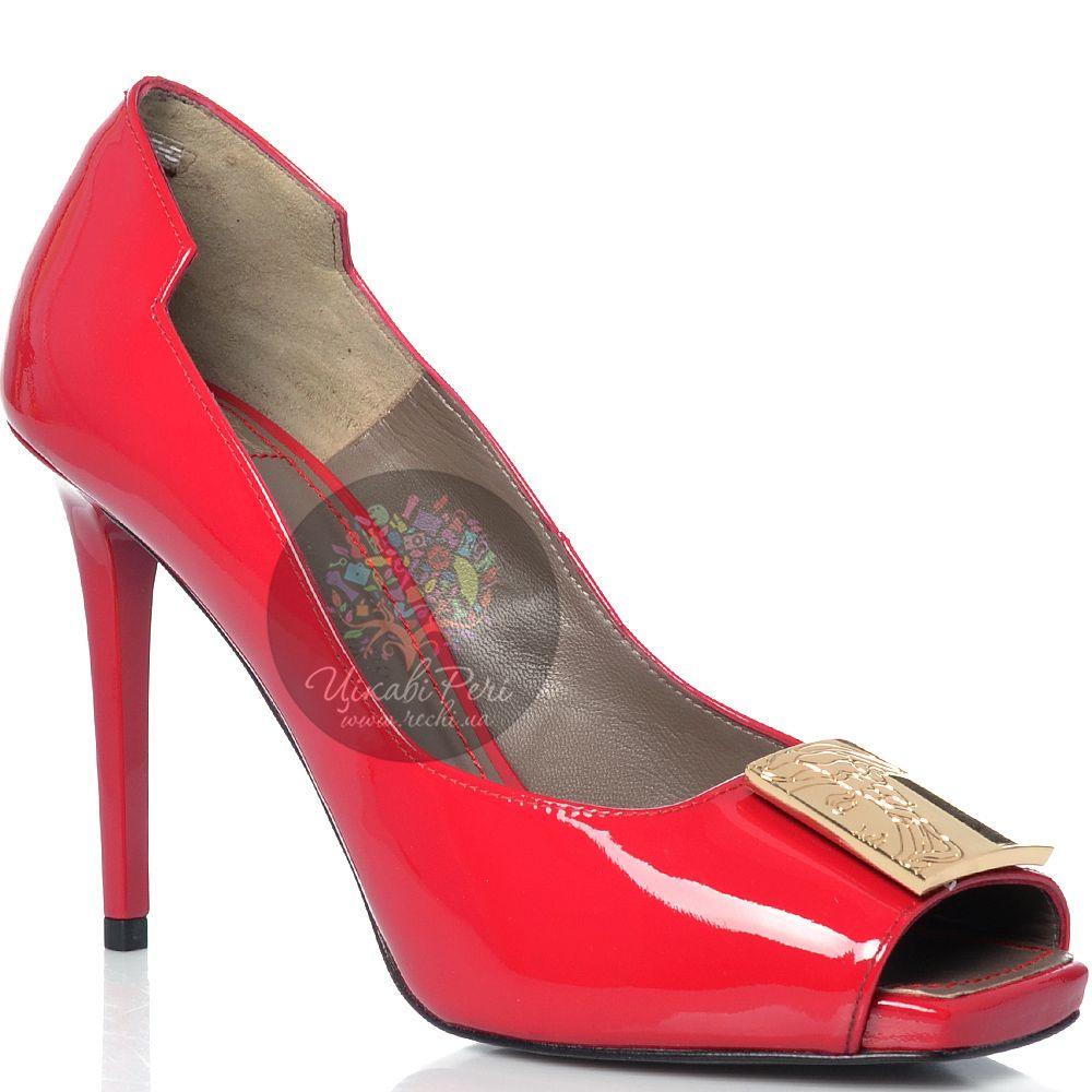 Туфли Versace Collection на шпильке кожаные лаковые малиновые