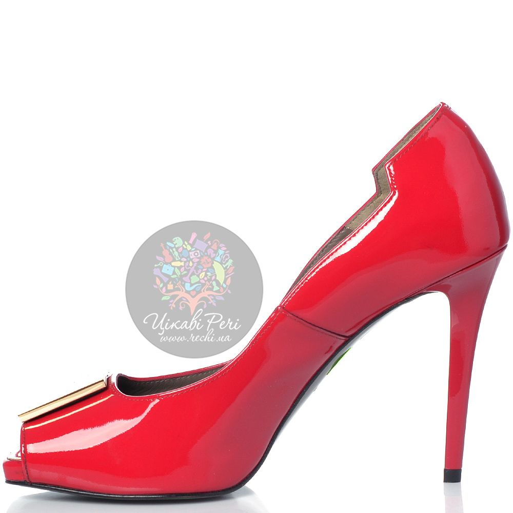 Красные туфли Versace Collection на шпильке кожаные лаковые