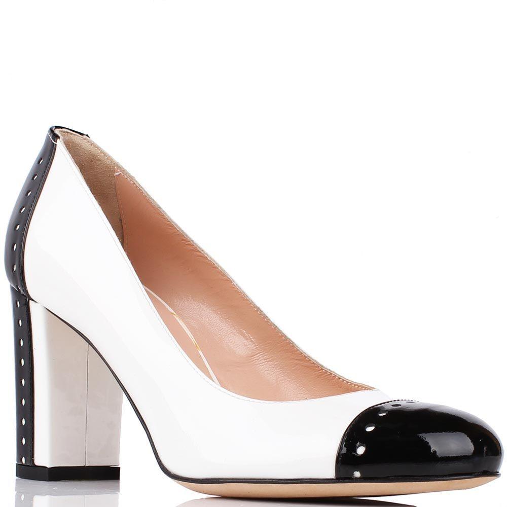 Туфли Renzi черно-белые на высоком устойчивом каблуке