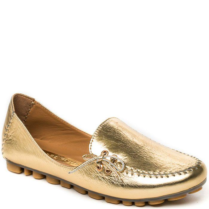 Кожаные мокасины Modus Vivendi золотого цвета на фактурной подошве