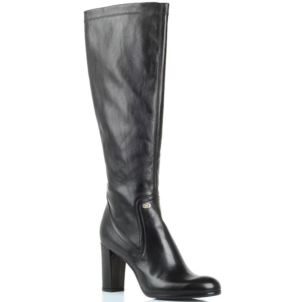 Черные кожаные сапоги Renzi на высоком устойчивом каблуке