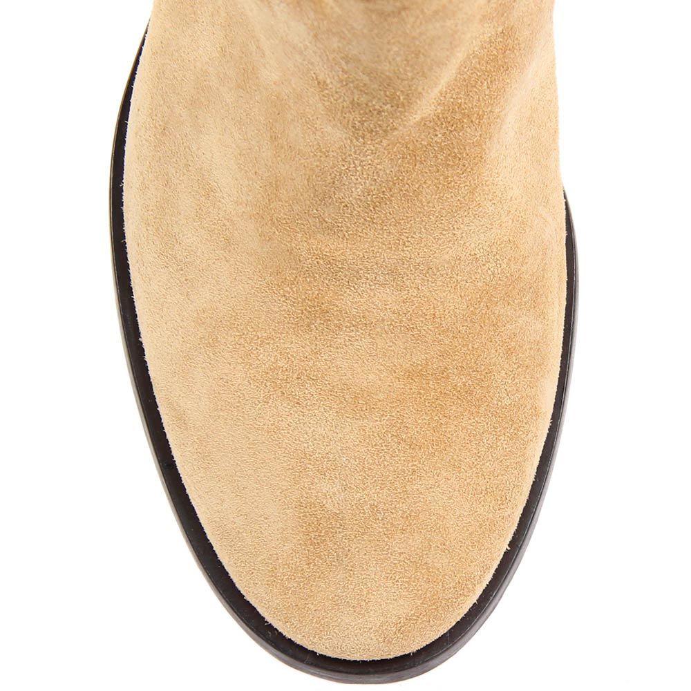 Полусапоги Renzi из замши бежевого цвета с коричневой подошвой