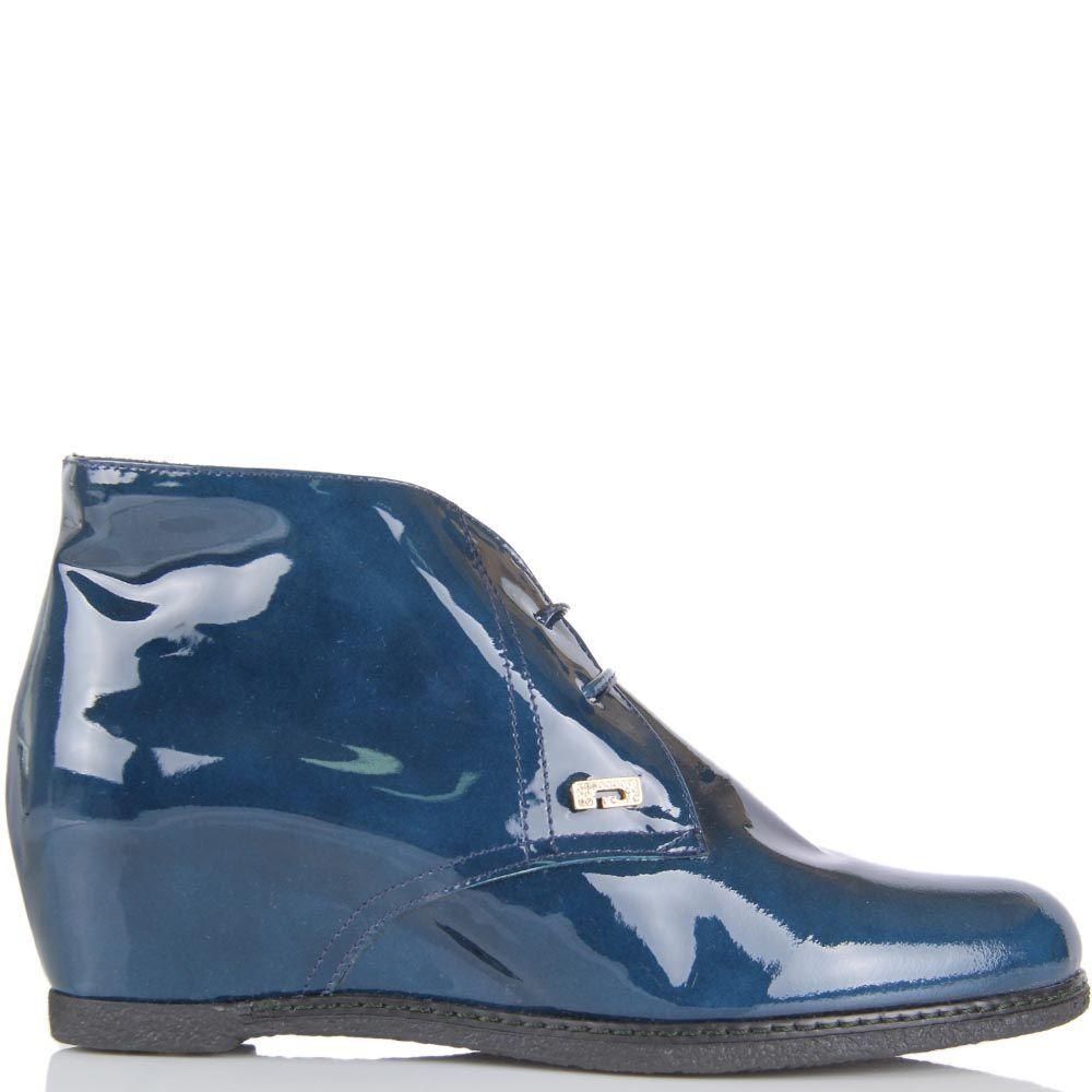 Ботинки Pakerson из лаковой кожи синего цвета на скрытой танкетке