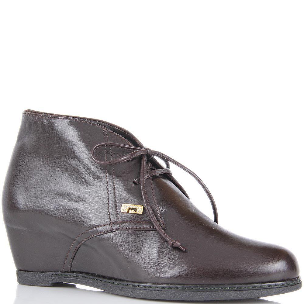Ботинки Pakerson из натуральной кожи коричневого цвета на скрытой танкетке