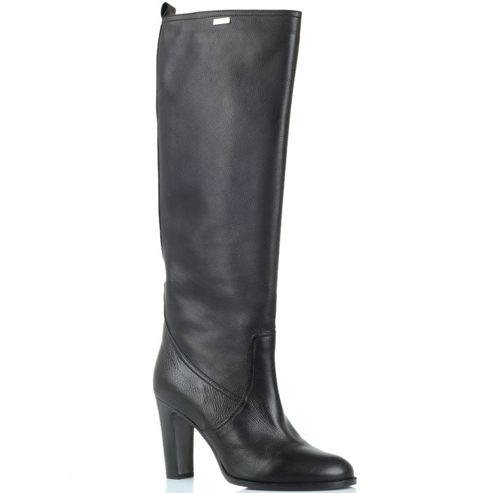 Сапоги кожаные черного цвета Renzi на толстом каблуке