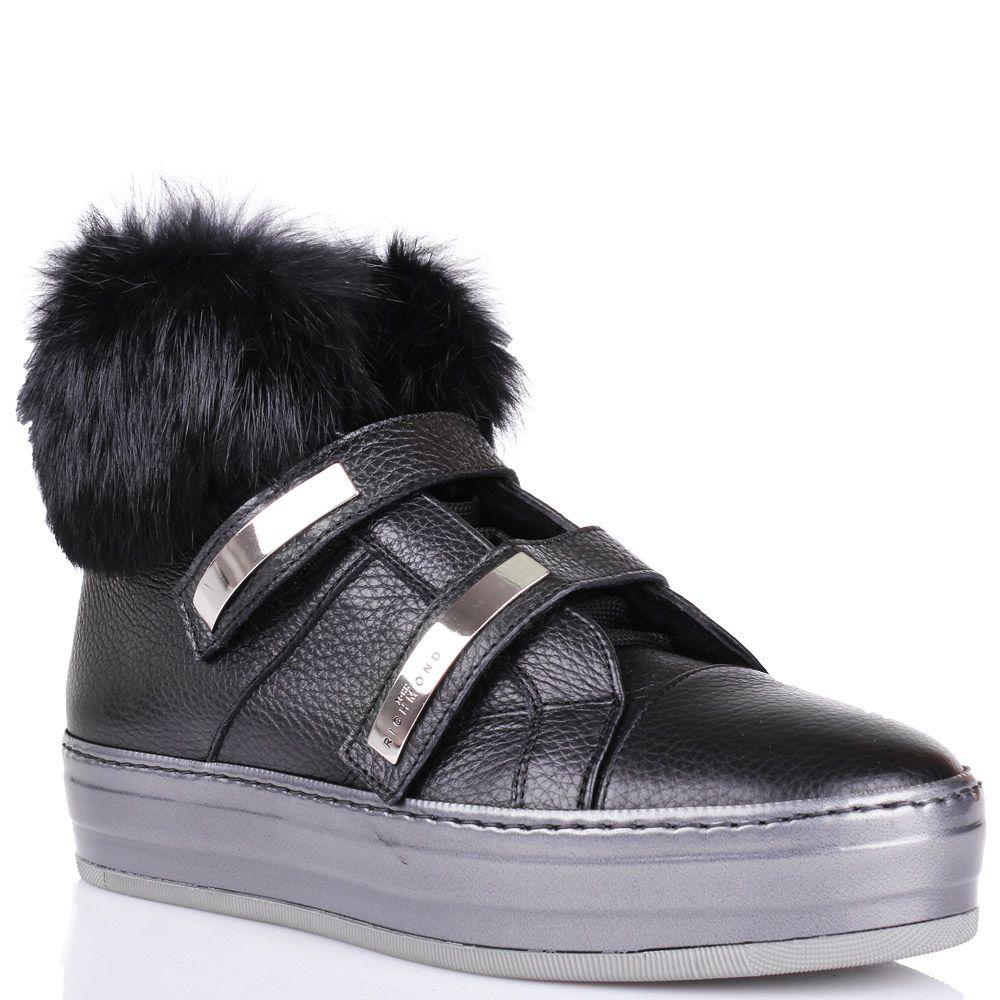 Ботинки John Richmond черного цвета с мехом и металлическими вставками на застежках