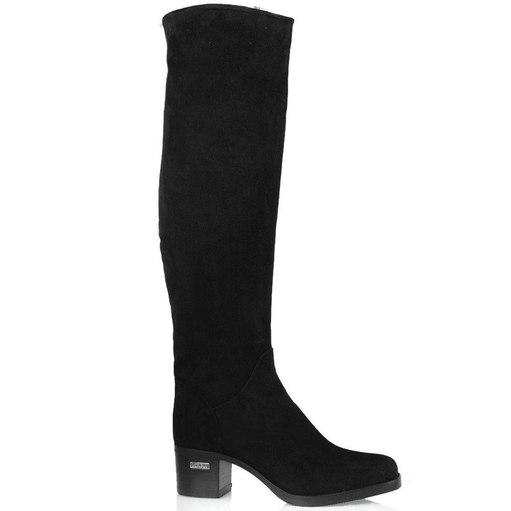 Замшевые ботфорты Loriblu черного цвета на среднем каблуке