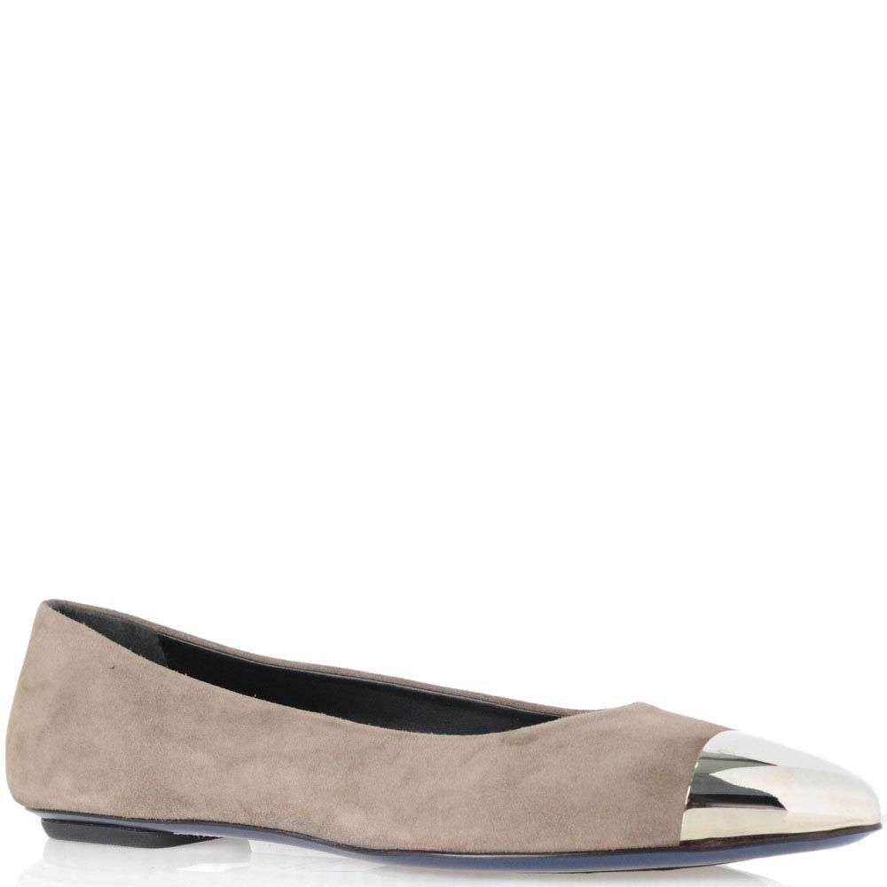 Замшевые туфли-балетки Loriblu серо-бежевого цвета с металлической пластиной на носке