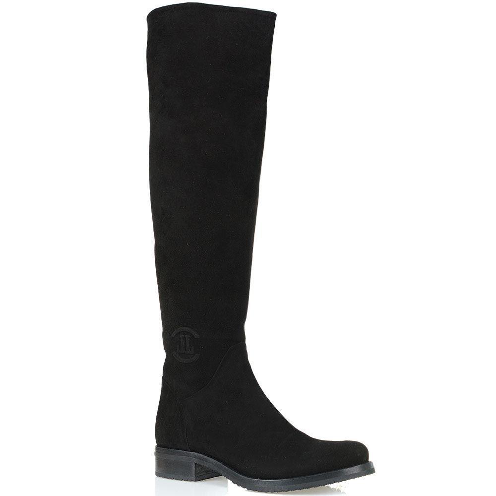 Замшевые ботфорты Loriblu на низком ходу с округлым носком
