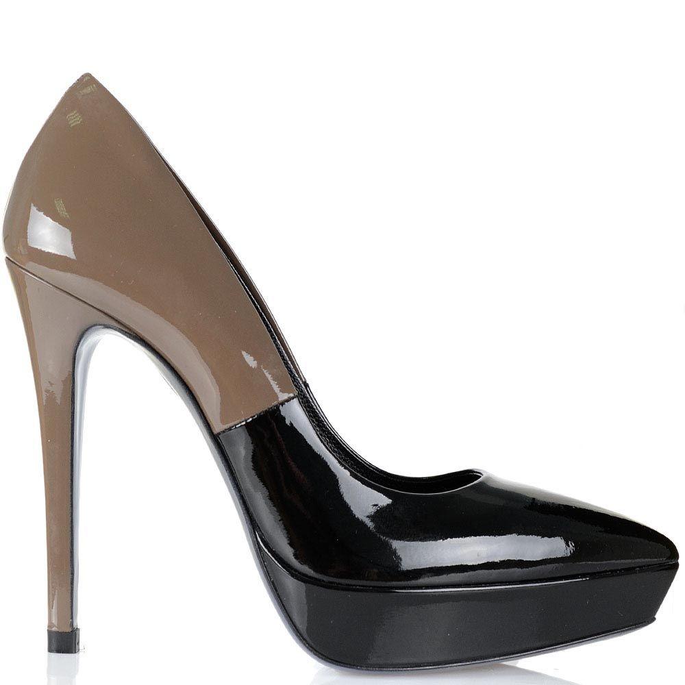 Туфли Loriblu из лаковой кожи серо-бежевого и черного цвета на высоком каблуке и скрытой платформе