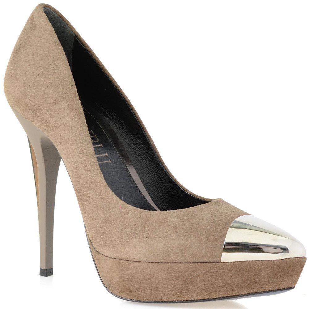 Замшевые туфли Loriblu серо-бежевого цвета на высоком каблуке