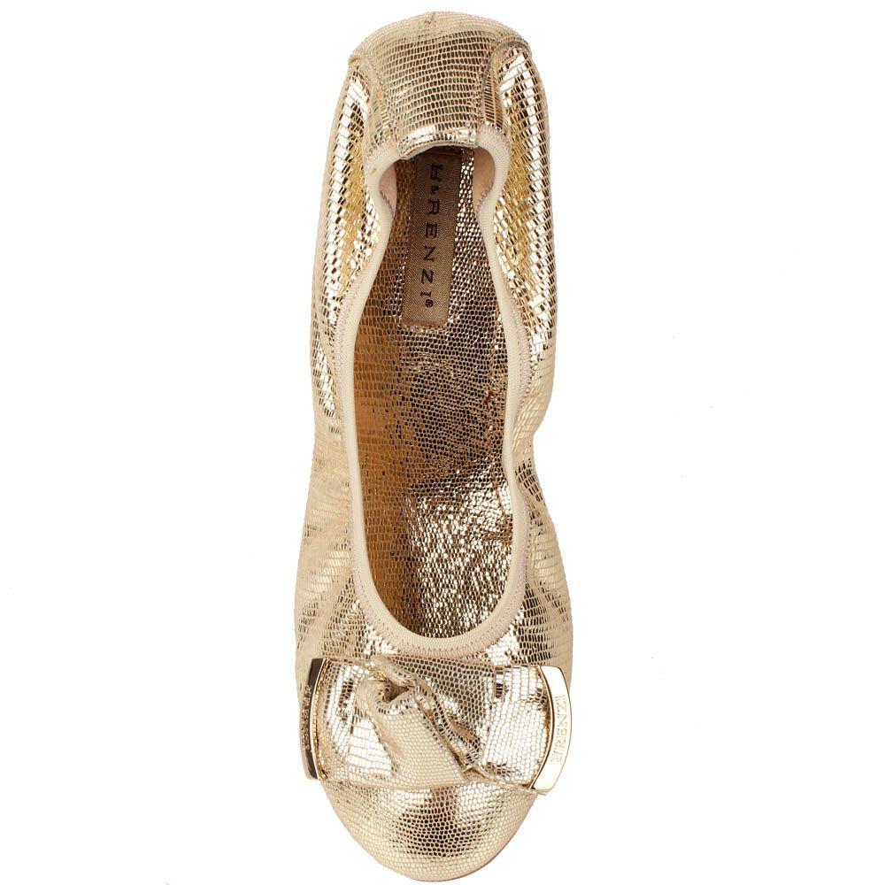 Кожаные балетки Renzi светло-золотого цвета с фактурой под кожу рептилии