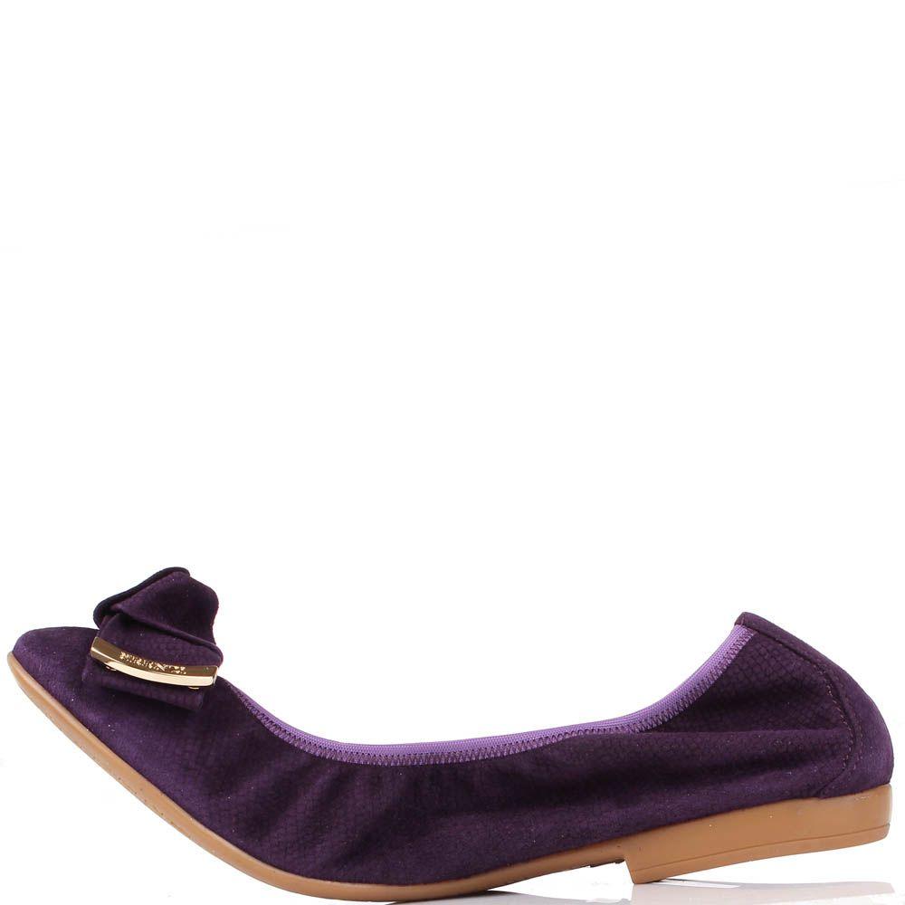 Замшевые балетки Renzi темно-фиолетового цвета