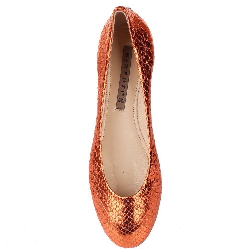 Туфли Renzi из фактурной кожи оранжевого цвета с металлическим блеском