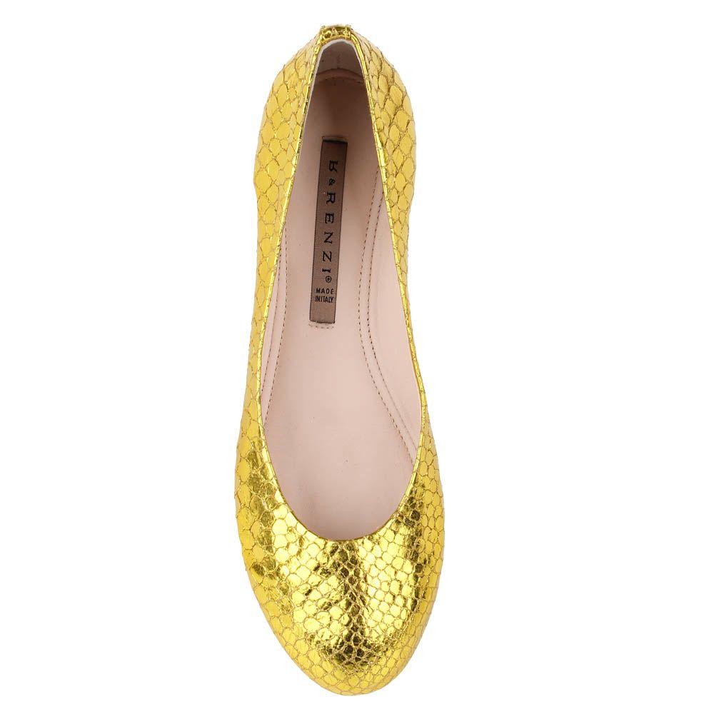 Туфли Renzi из кожи с фактурой под кожу змеи светло-золотого цвета