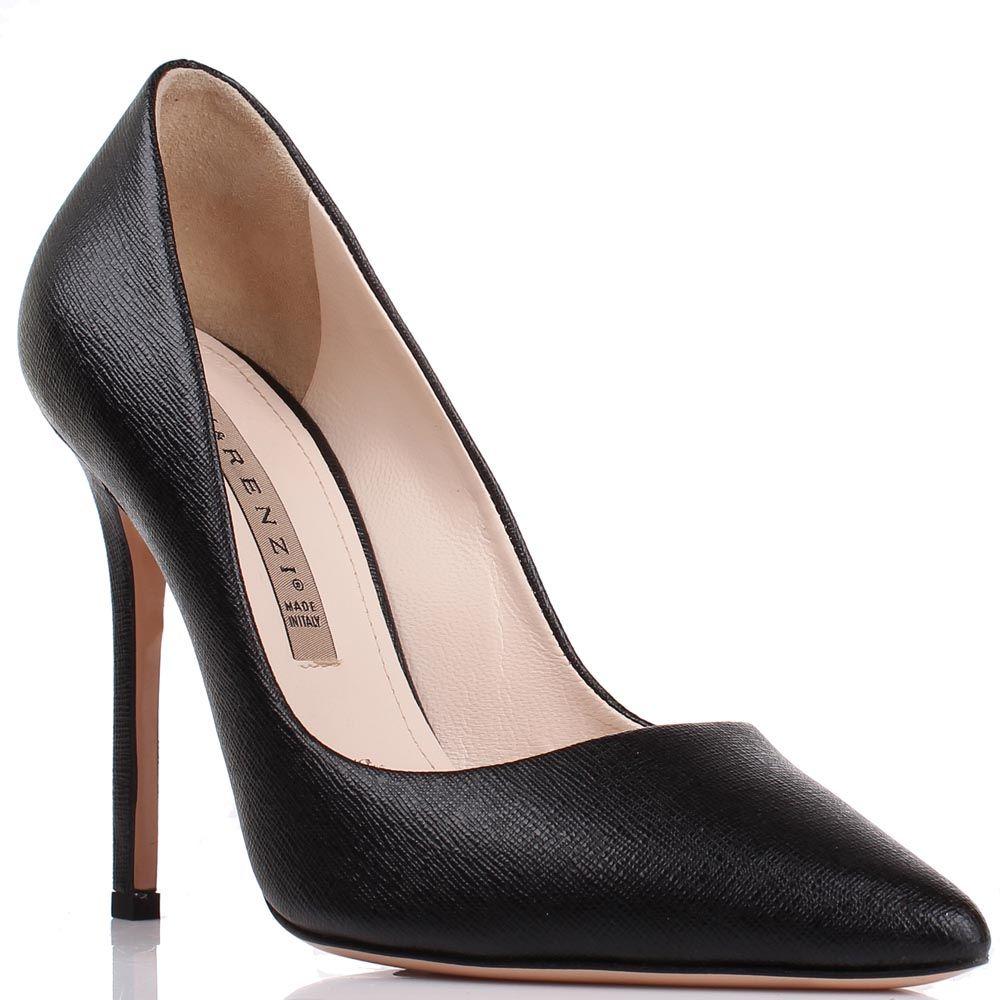 Туфли-лодочки Renzi из гладкой черной кожи на высокой шпильке