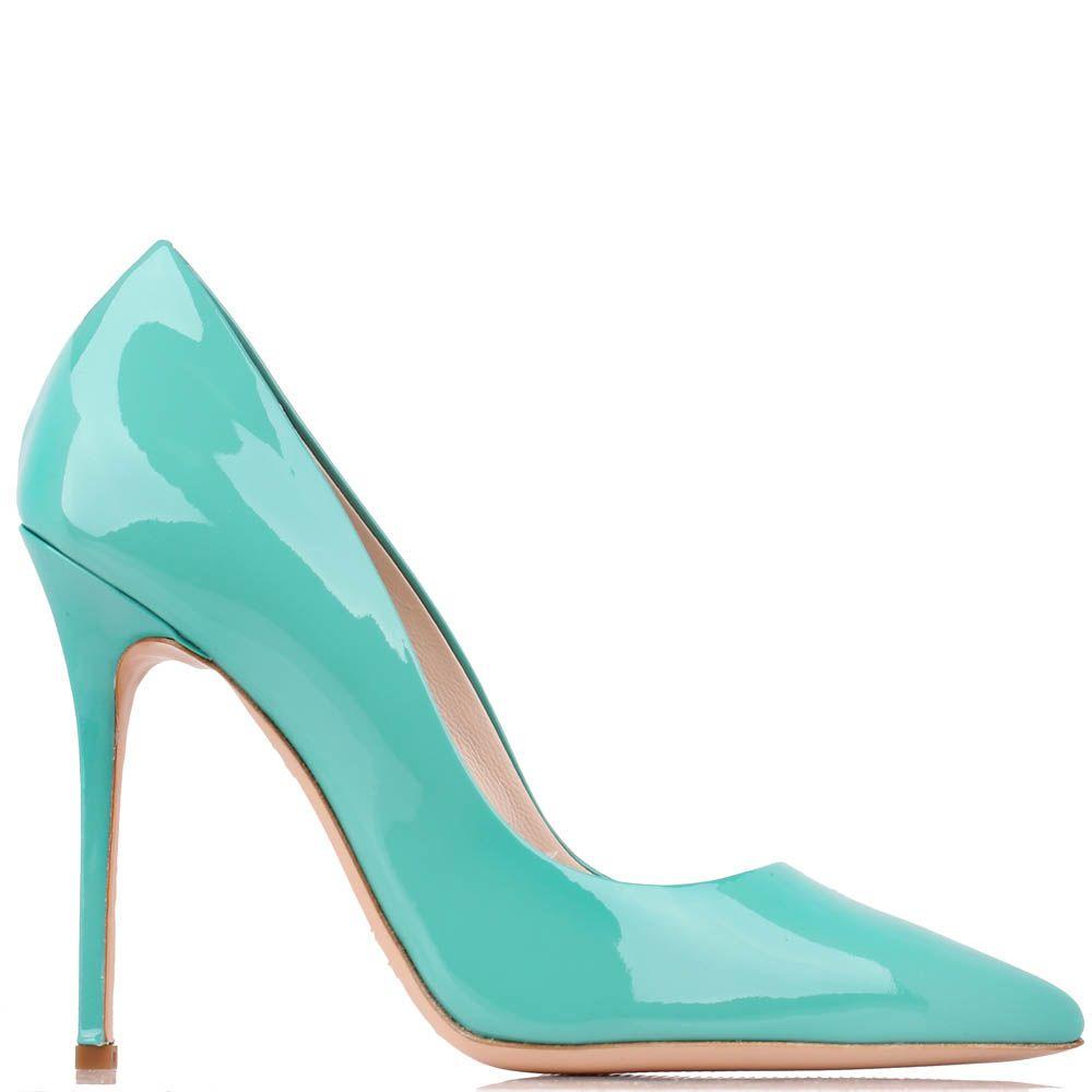 Туфли-лодочки Renzi из лаковой кожи насыщенного бирюзового цвета