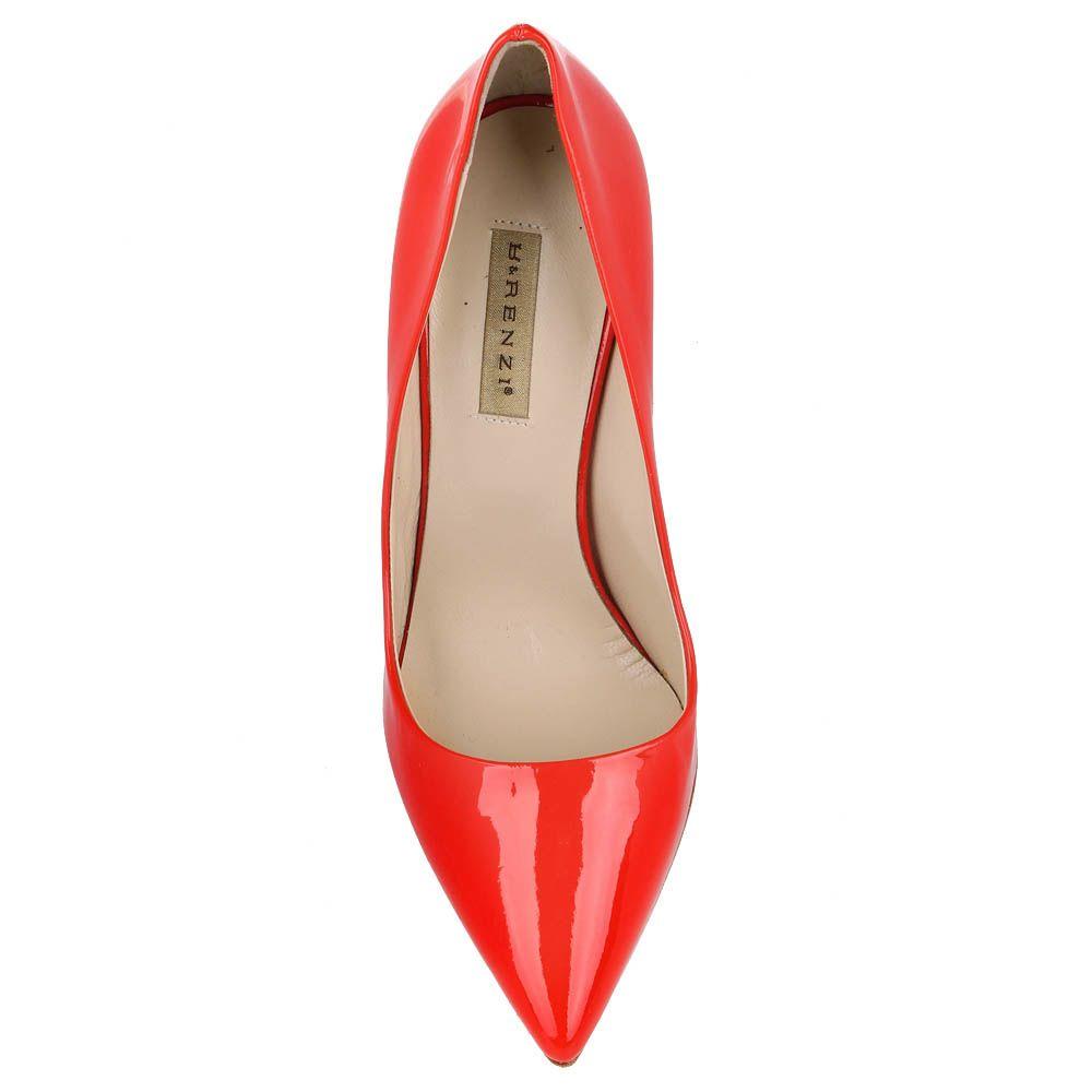 Туфли-лодочки Renzi из натуральной лаковой кожи красного цвета