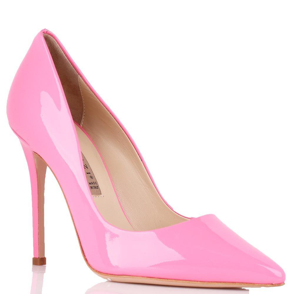 Туфли Renzi ярко-розового цвета из лаковой кожи на высокой шпильке