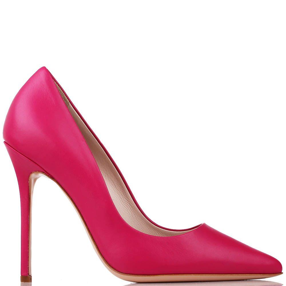 Туфли Renzi из кожи малинового цвета на высокой шпильке