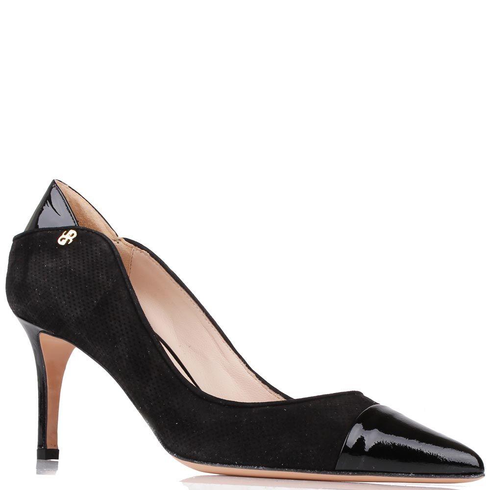 Туфли Renzi из черной замши с вставками из лаковой кожи на среднем каблуке-шпильке