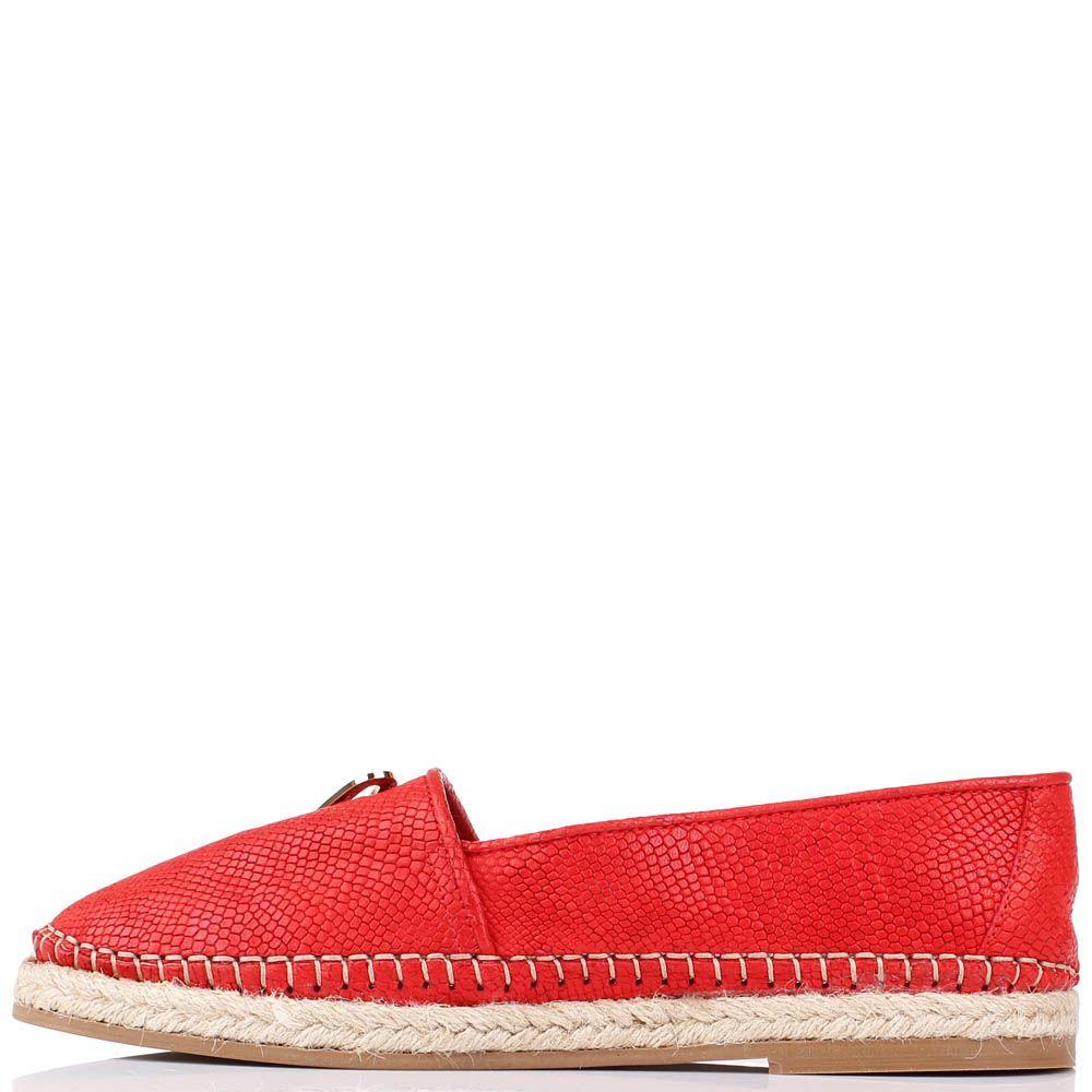 Кожаные туфли-эспадрильи Renzi с тиснением под кожу питона красного цвета