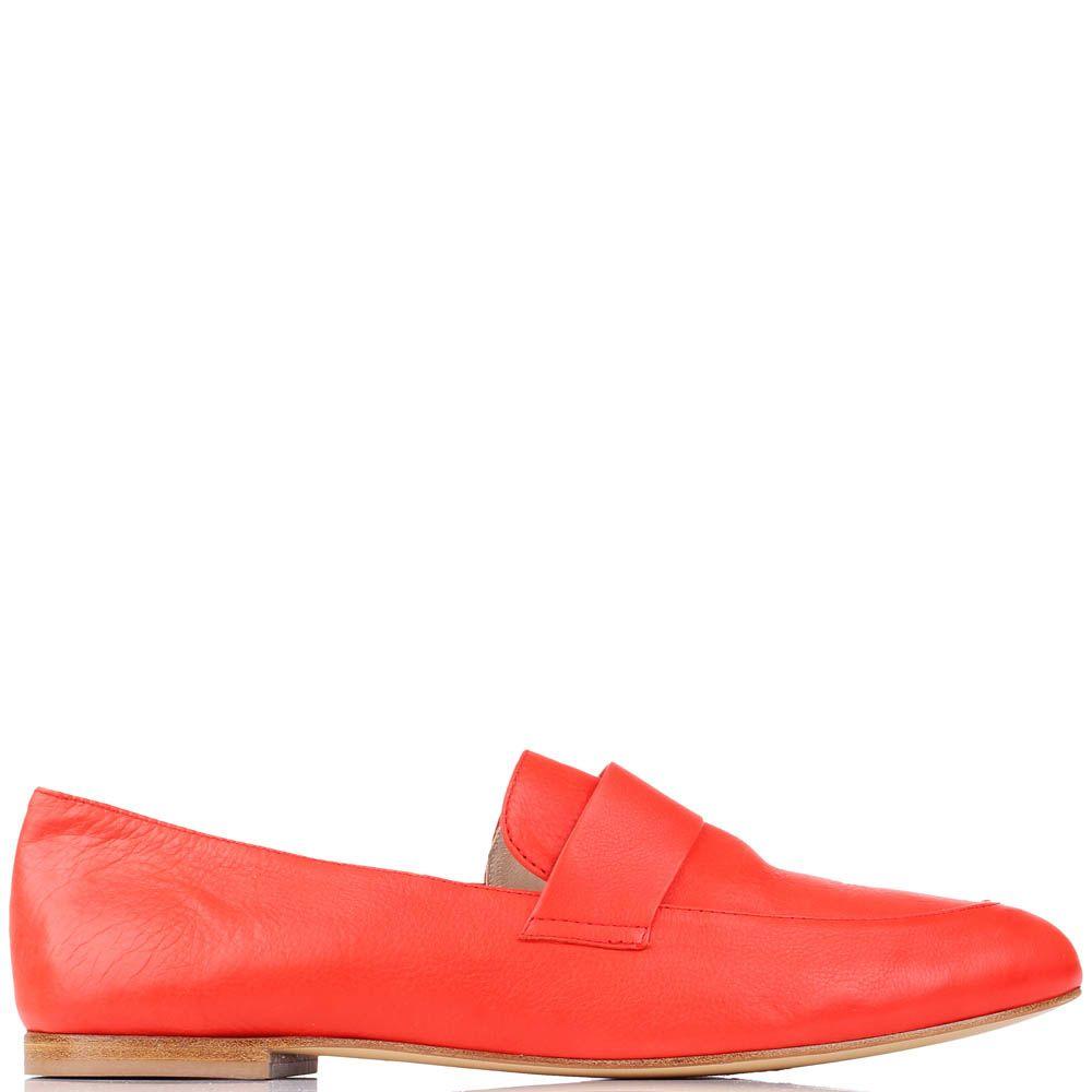 Туфли-лоферы Renzi из натуральной кожи красного цвета