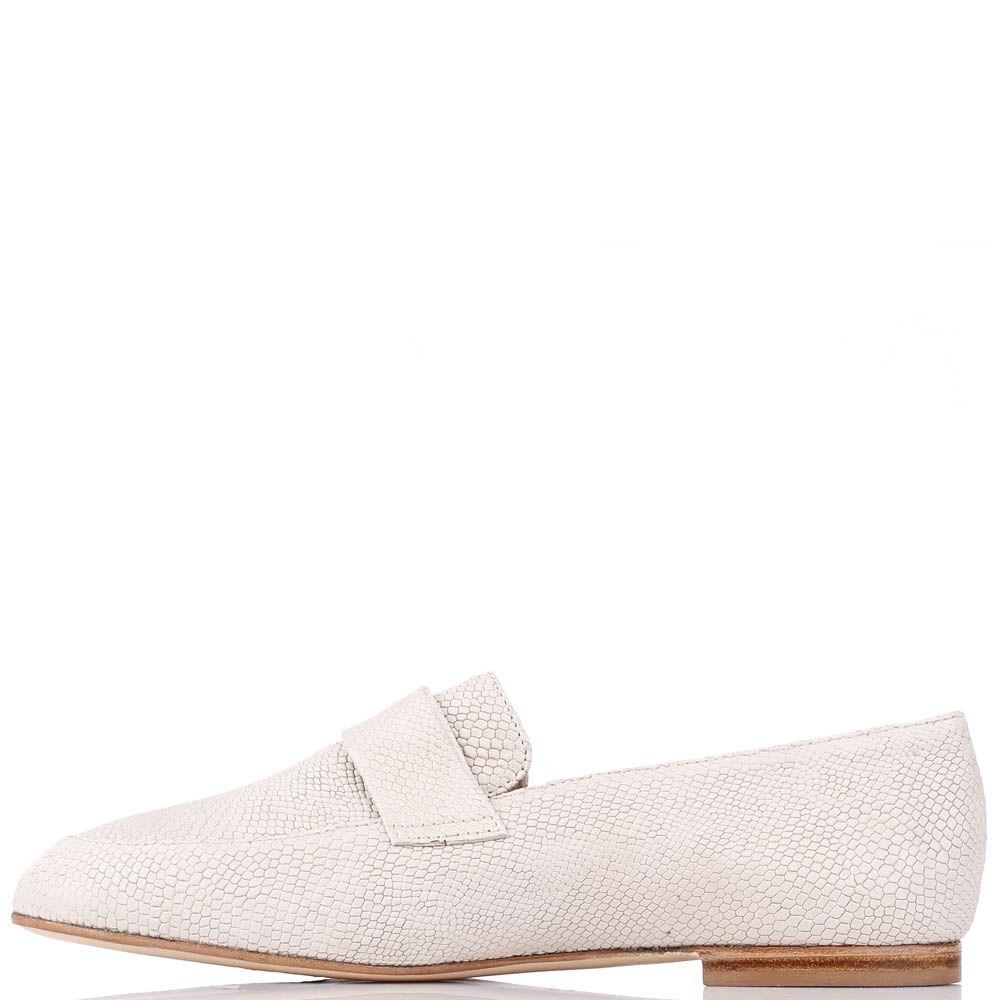 Туфли-лоферы Renzi из кожи молочного цвета