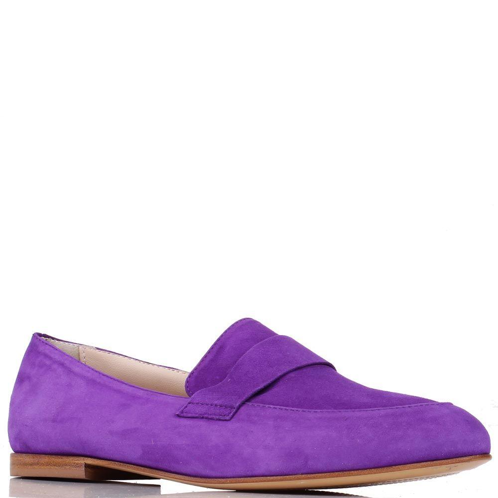 Замшевые туфли-лоферы Renzi ярко-фиолетовые