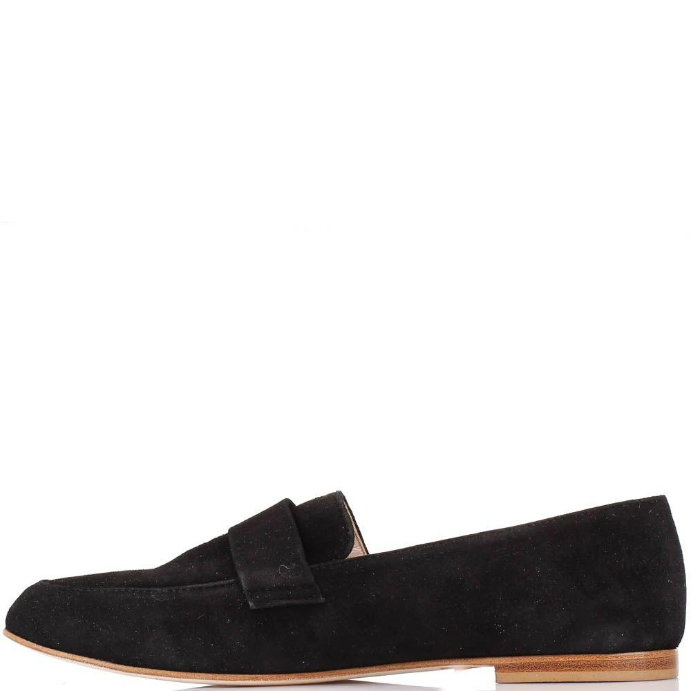 Туфли-лоферы Renzi из натуральной замши угольно-черного цвета
