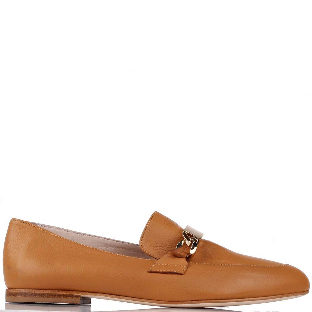 Туфли-лоферы Renzi из кожи коньячного цвета