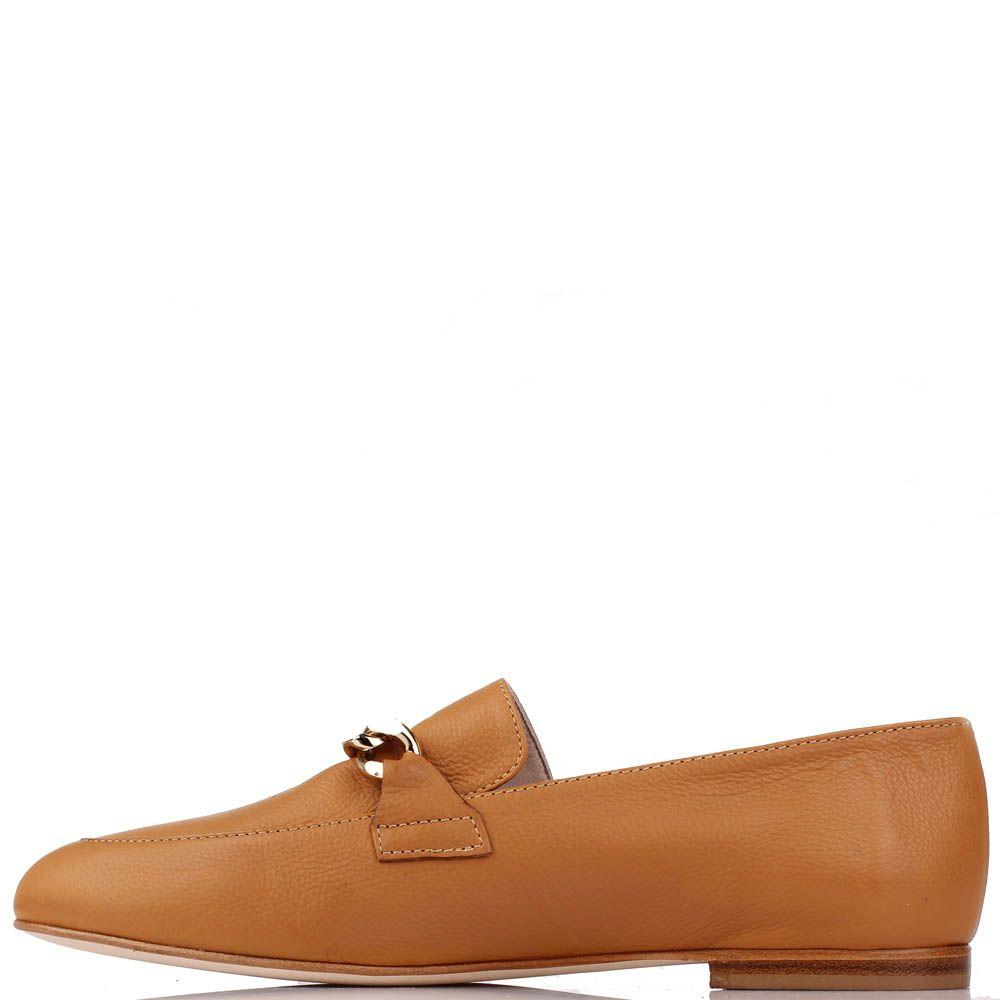 Туфли-лоферы Renzi из натуральной кожи коньячного цвета