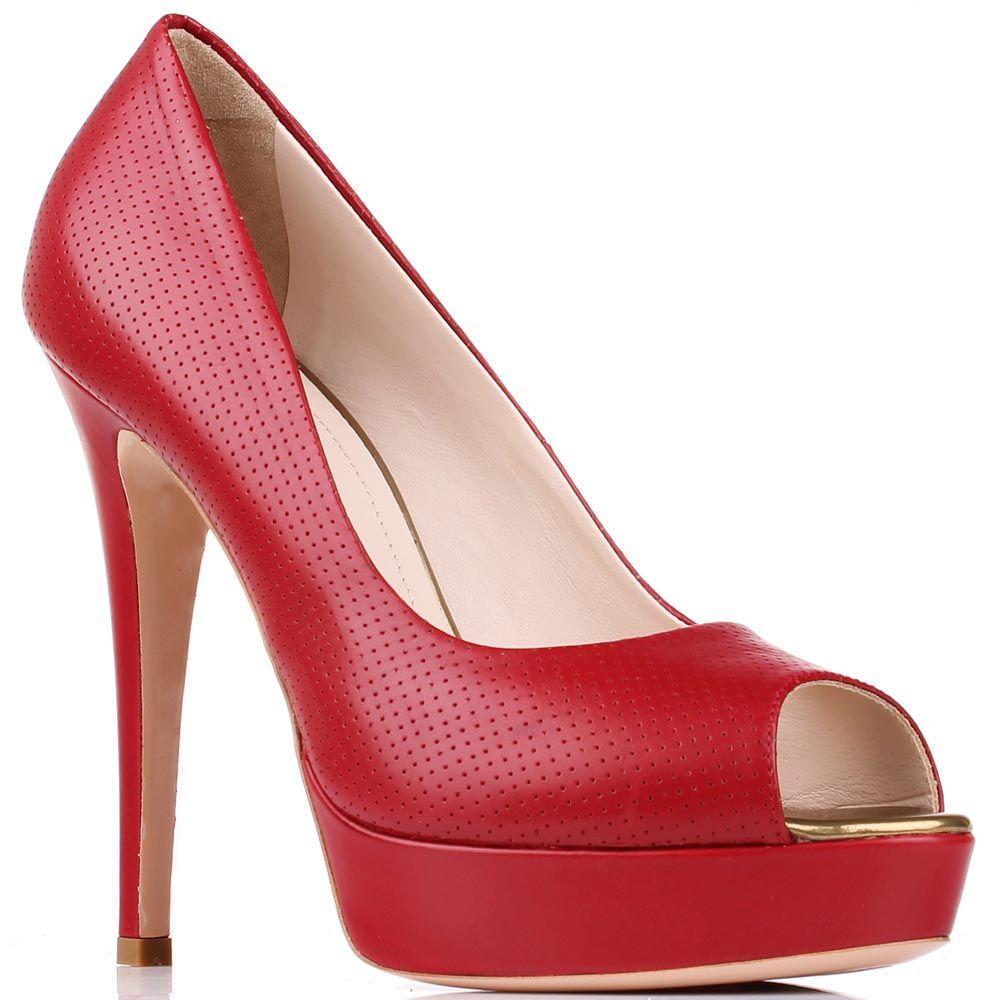 Туфли Renzi с открытым носочком из натуральной кожи красного цвета