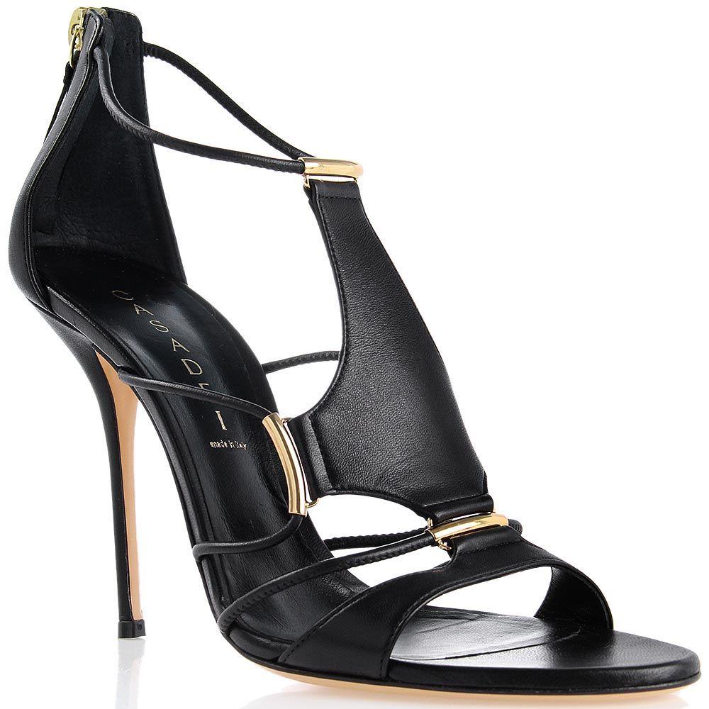 Босоножки Casadei черные с золотистыми металлическими вставками с каблуком-шпилькой