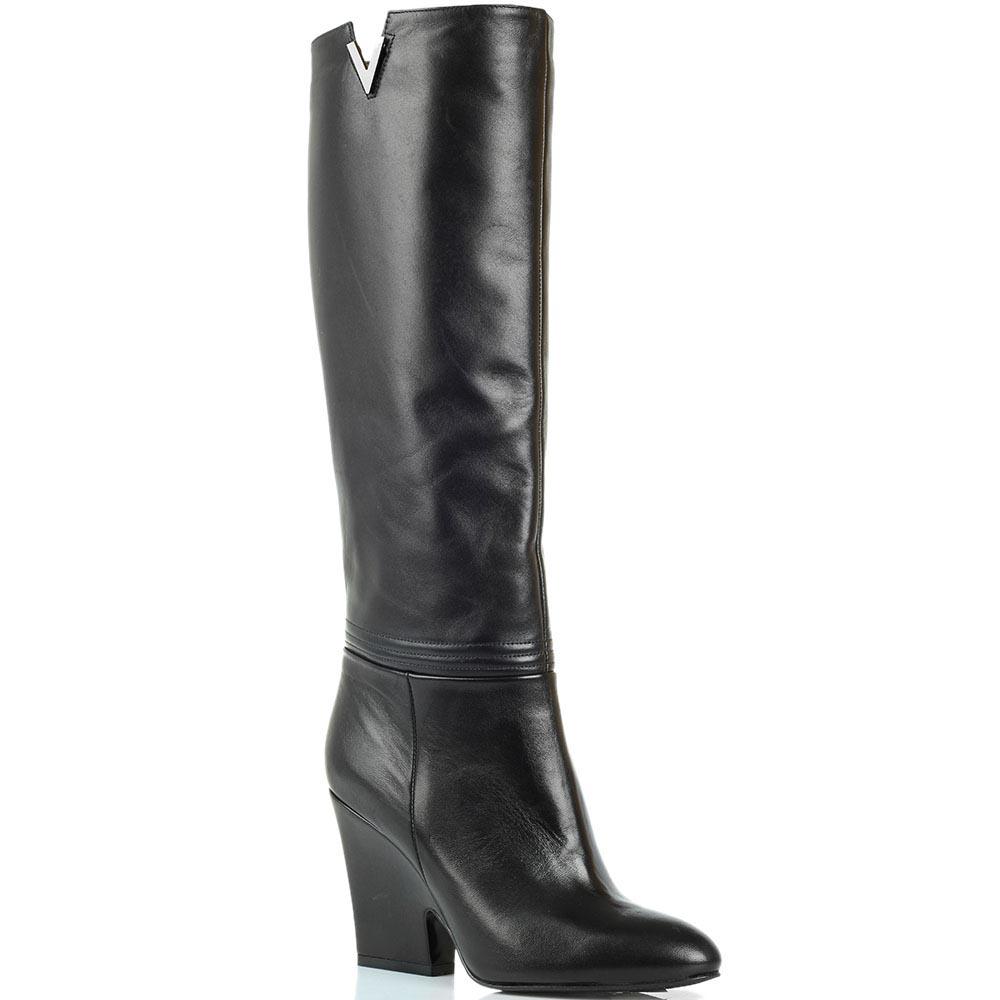 Кожаные сапоги черного цвета Renzi на устойчивом каблуке
