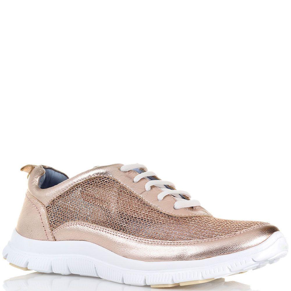 Кожаные кроссовки золотистого цвета Massimo Santini с сетчатыми вставками