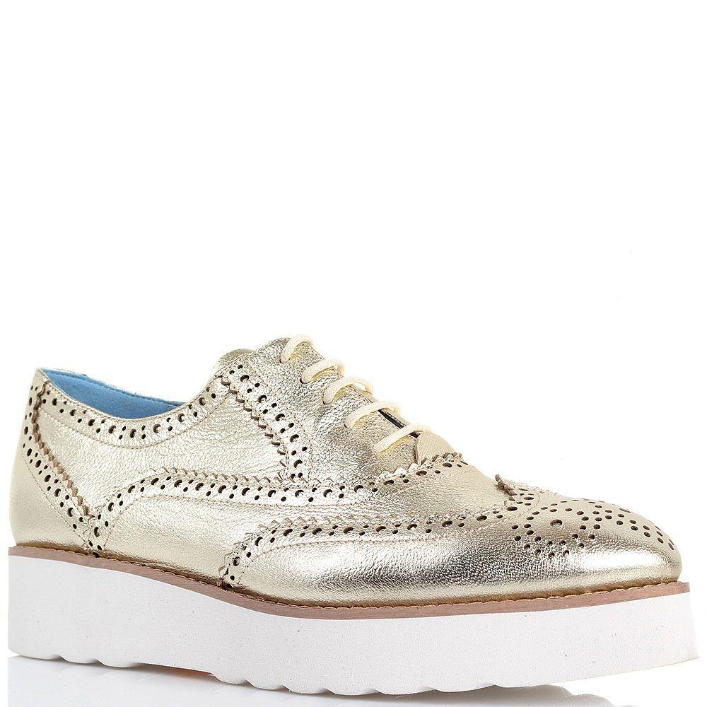Туфли-броги золотистого цвета Massimo Santini на толстой подошве