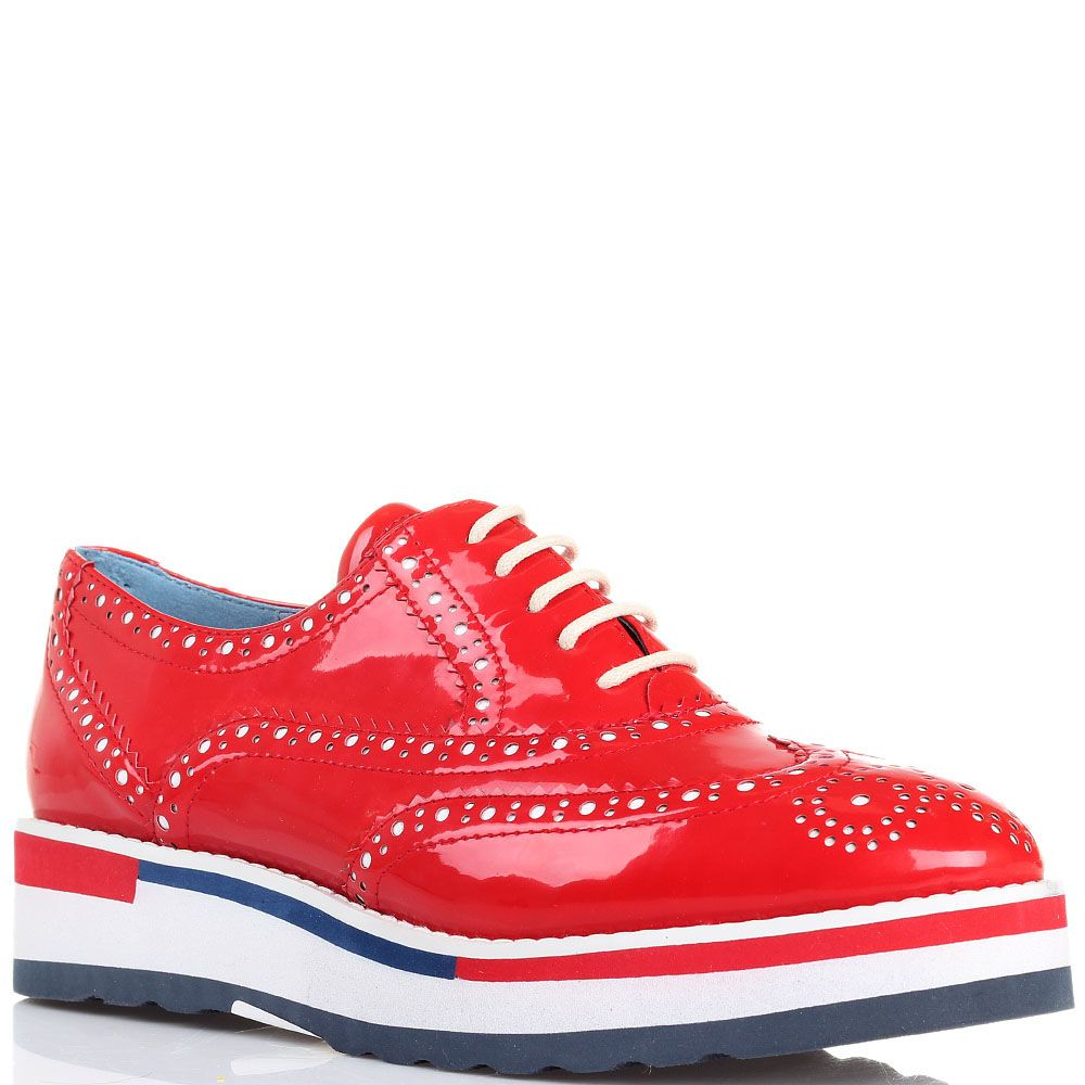 Туфли-броги красного цвета Massimo Santini на толстой подошве