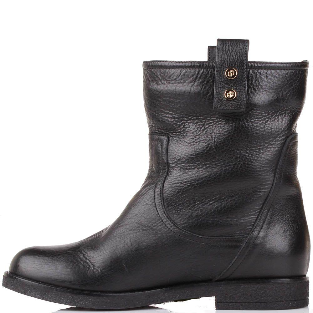 Зимние ботинки Renzi из натуральной кожи черного цвета